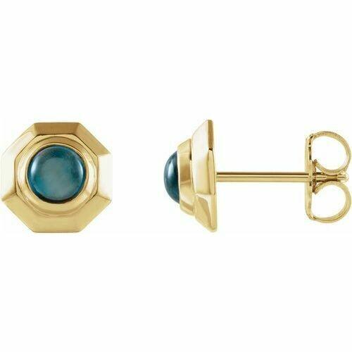 14K Yellow London Blue Topaz Baguette Circle Earrings