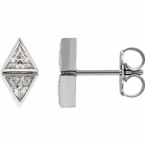 14K White 1/2 CTW Diamond Two-Stone Bezel-Set Earrings