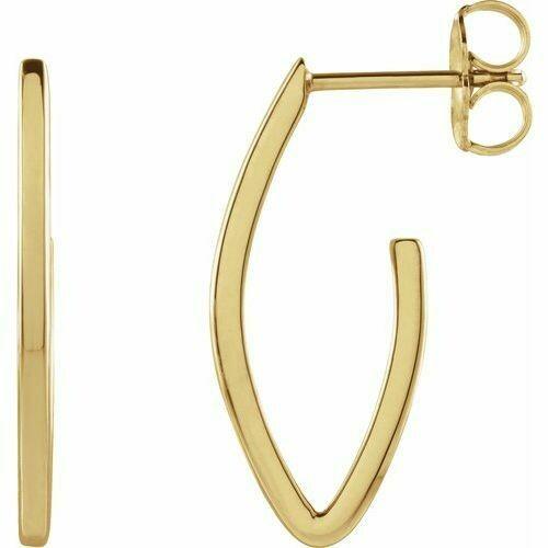 14K Yellow 20x8 mm Teardrop Hoop Earrings