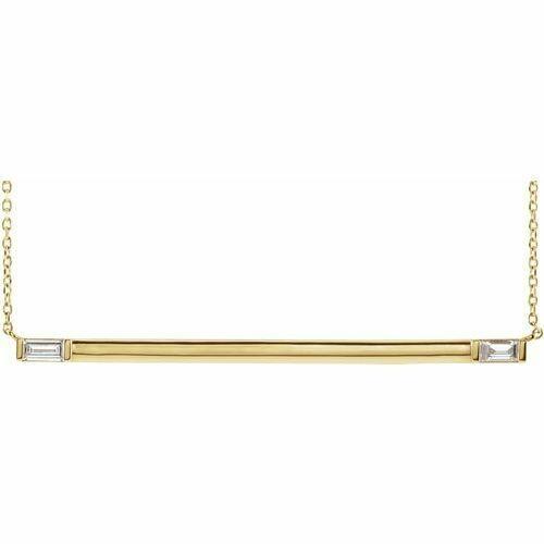 "14K Yellow 1/4 CTW Diamond Bar 18"" Necklace"