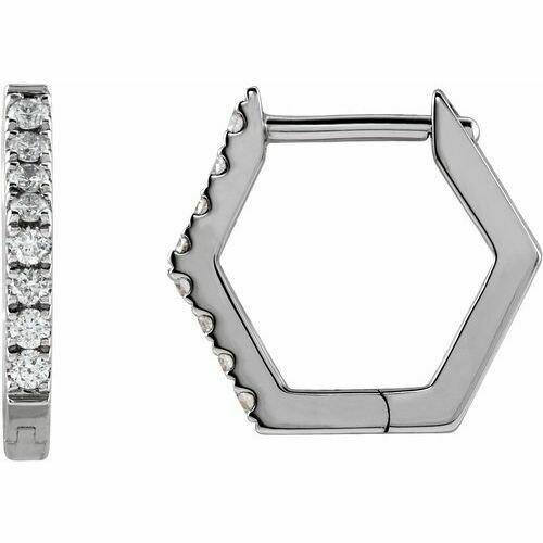 14K White 1/8 CTW Diamond Geometric Hinged Hoop Earrings