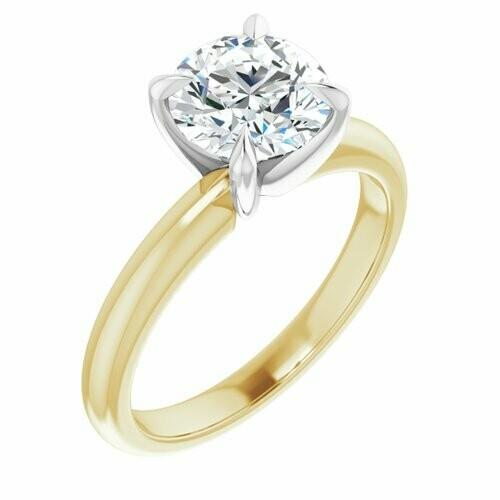 14K Yellow/White Round 1 1/2 ct Engagement Ring