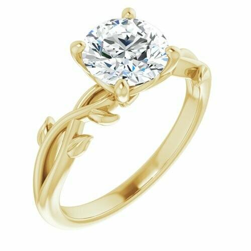 14K Yellow Round 1 1/2 ct Engagement Ring
