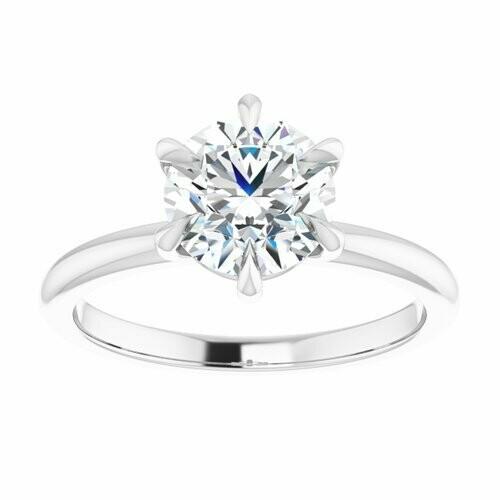 14K White Round 1 1/2 ct Engagement Ring