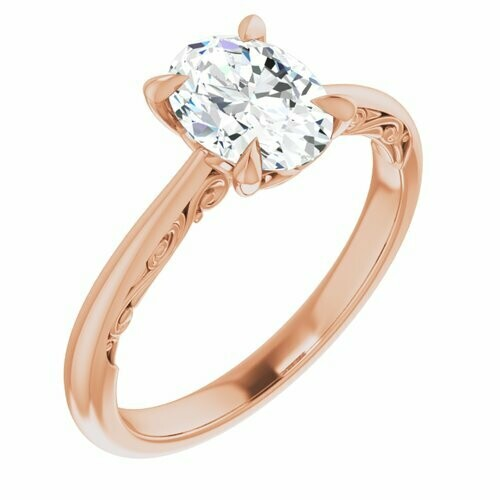 14K Rose Oval 1 ct Engagement Ring