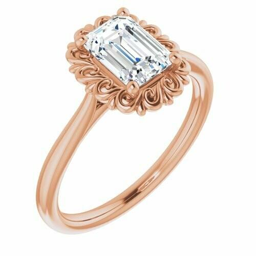 14K Rose Emerald 1 1/4 ct Engagement Ring
