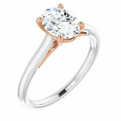 14K White/Rose Oval 1 ct Engagement Ring