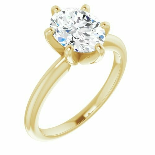 14K Yellow Oval 1 1/2 ct Engagement Ring
