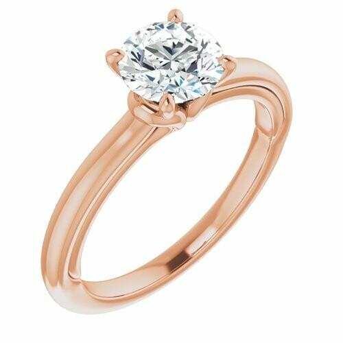 14K Rose Round 1 ct Engagement Ring