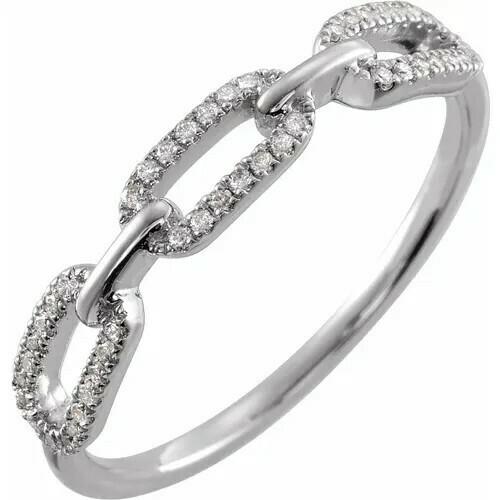 14K White 1/6 CTW Diamond Chain Link Ring