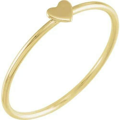 14K Yellow Stackable Heart Ring Size 7