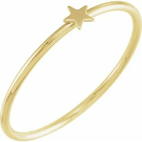 14K Yellow Stackable Star Ring Size 7