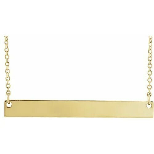 "14K Yellow 34x4 mm Bar 18"" Necklace"
