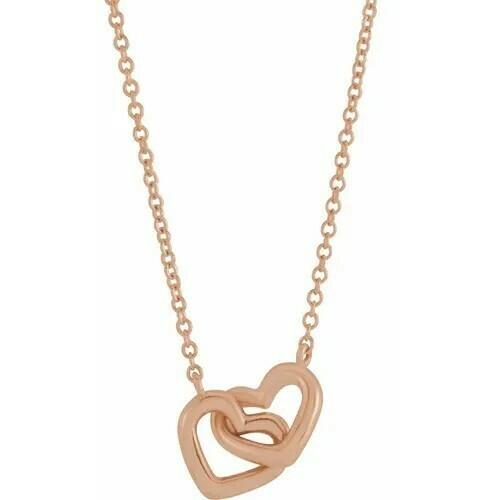 "14K Rose Interlocking Heart 16"" Necklace"