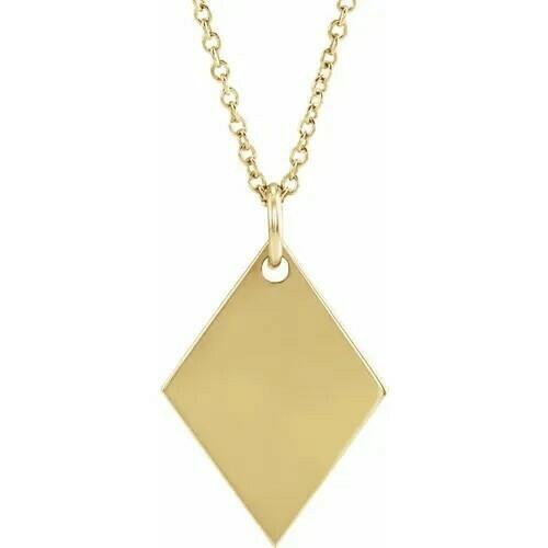"14K Yellow 19.84x12.95 mm Diamond-Shaped 16-18"" Necklace"