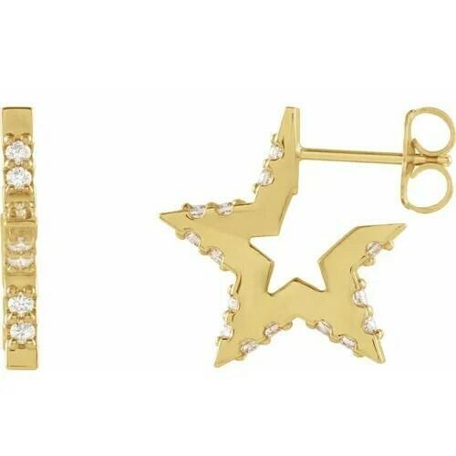 14K Yellow 3/8 CTW Diamond Star Hoop Earrings
