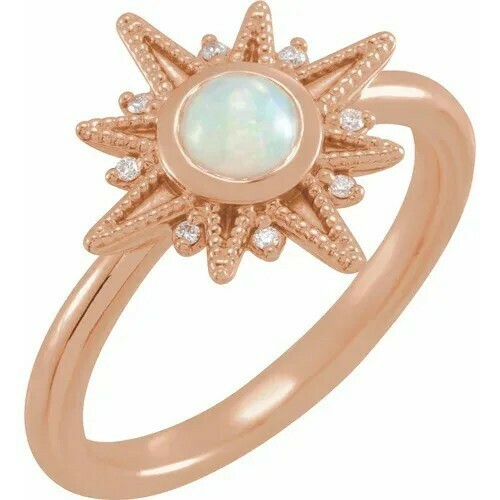 14K Rose Ethiopian Opal & .03 CTW Diamond Ring