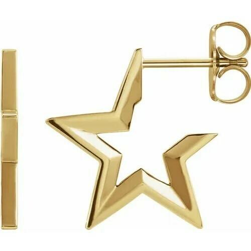 14K Yellow Star Hoop Earrings