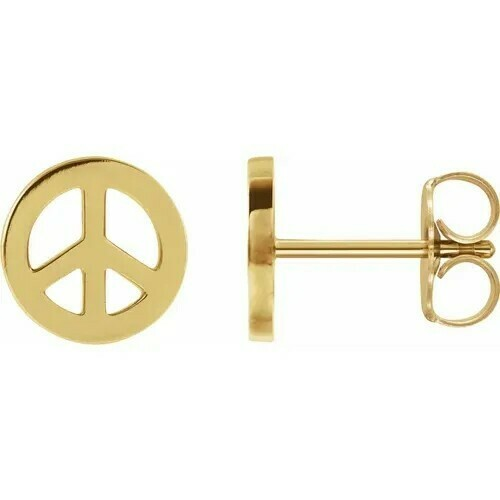 14K Yellow Tiny Peace Earrings