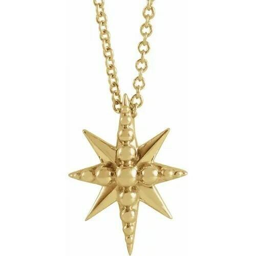 "14K Yellow Beaded Starburst 16-18"" Necklace"