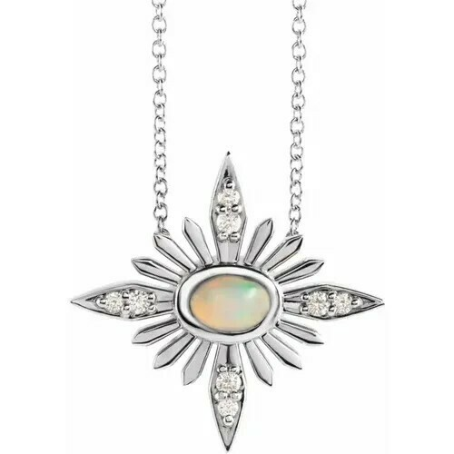 "14K White Ethiopian Opal & .08 CTW Diamond Celestial 16-18"" Necklace"