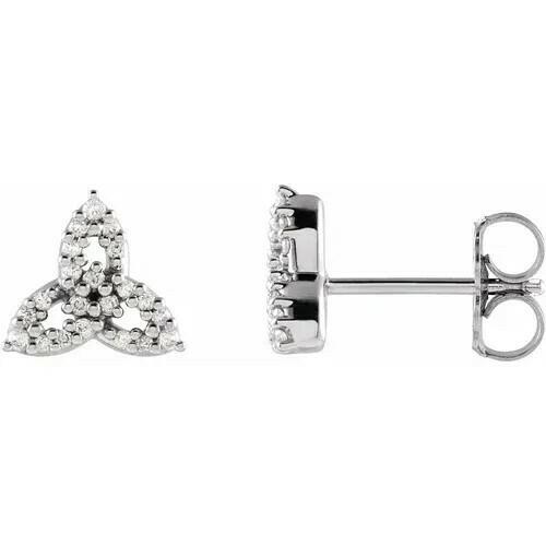 14K White 1/10 CTW Diamond Celtic Trinity Earrings
