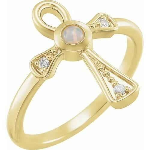 14K Yellow Ethiopian Opal & .05 CTW Diamond Ankh Cross Ring