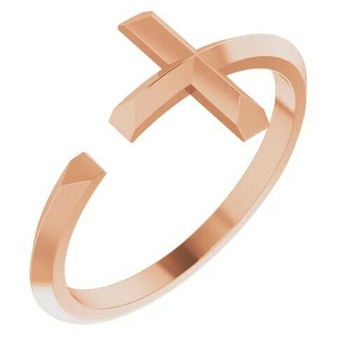 14K Rose Negative Space Cross Ring