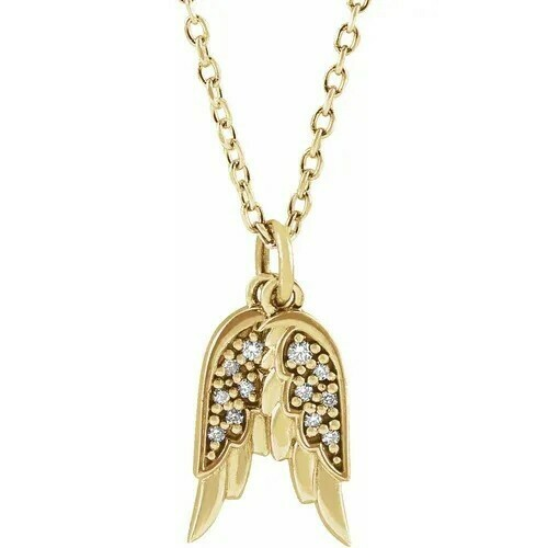 14K Yellow .03 CTW Diamond Angel Wings 16-18
