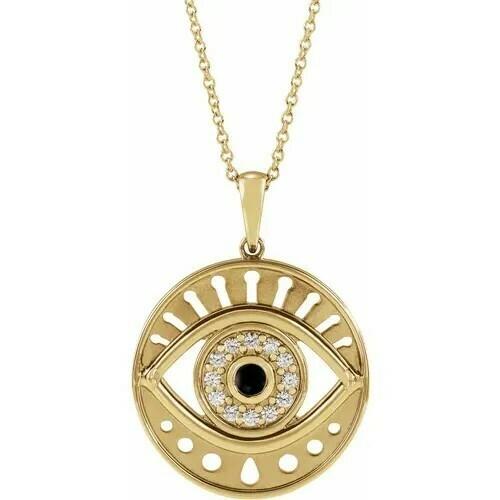 "14K Yellow Onyx & 1/6 CTW Diamond Evil Eye 16-18"" Necklace"