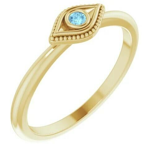 14K Yellow Aquamarine Stackable Evil Eye Ring