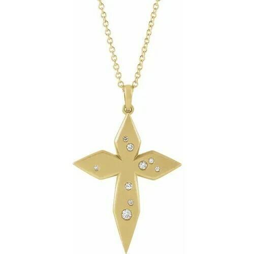 "14K Yellow .08 CTW Diamond Cross 16-18"" Necklace"