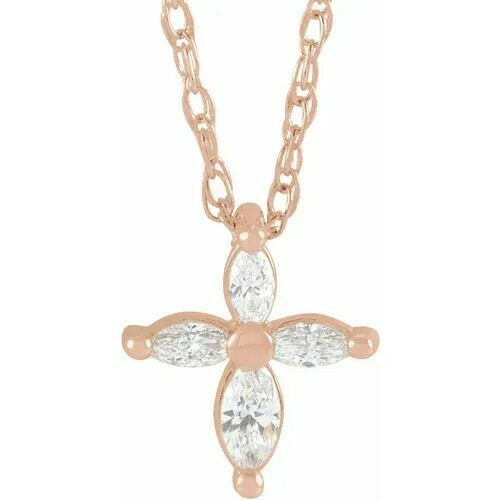"14K Rose 1/6 CTW Diamond Marquise Cross 16"" Necklace"