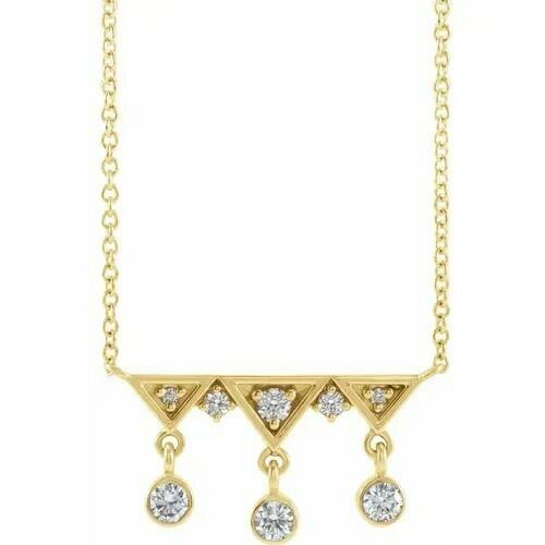 14K Yellow 1/5 CTW Diamond Fringe Bar 16