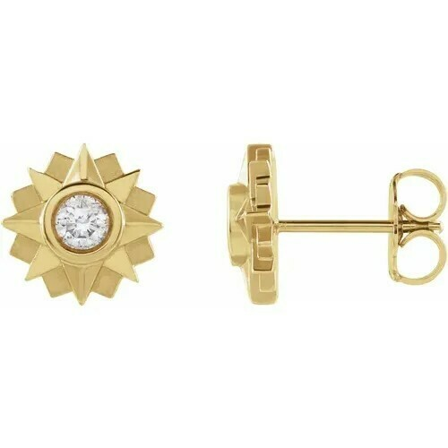 14K Yellow 1/3 CTW Diamond Sun Earrings