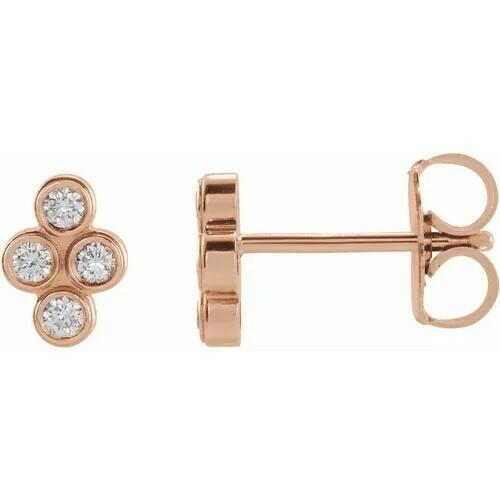 14K Rose 1/10 CTW Diamond Bezel-Set Cluster Earrings