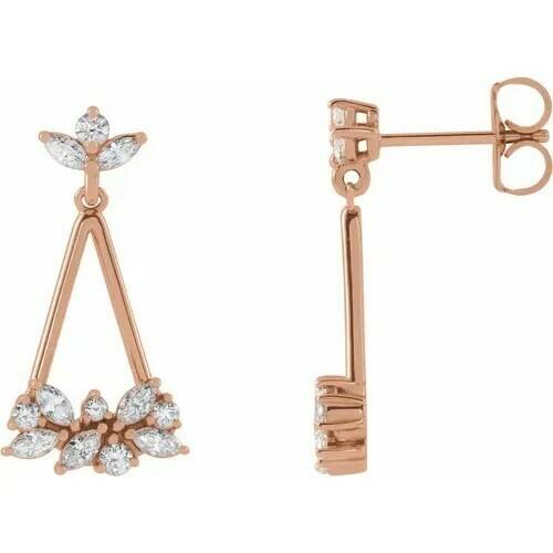 14K Rose 5/8 CTW Diamond Geometric Cluster Earrings