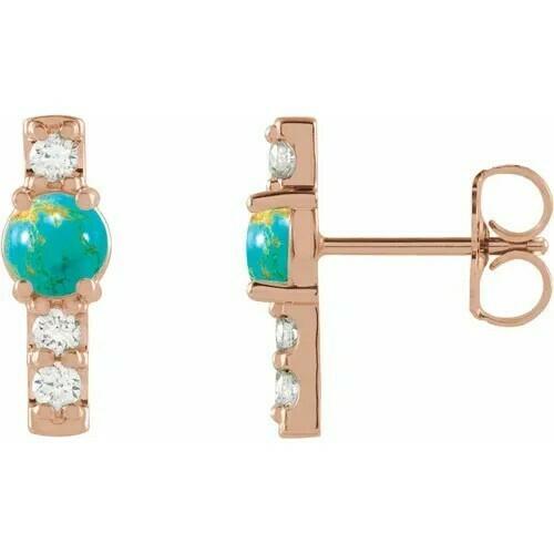 14K Rose Turquoise & 1/5 CTW Diamond Semi-Set Bar Earrings