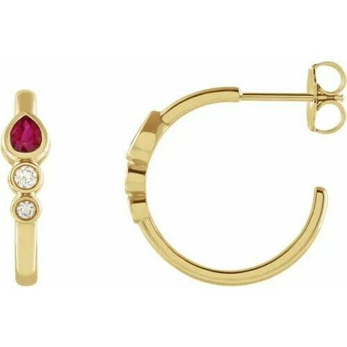 14K Yellow Ruby & 1/10 CTW Diamond Bezel-Set Hoop Earrings