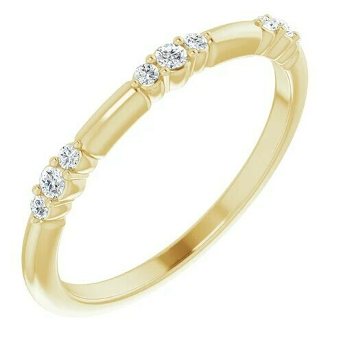 14K Yellow 1/8 CTW Lab-Grown Diamond Stackable Ring