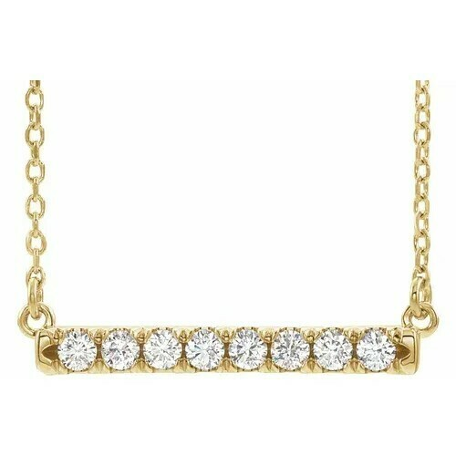 14K Yellow 1/4 CTW Lab-Grown Diamond French-Set Bar 16-18