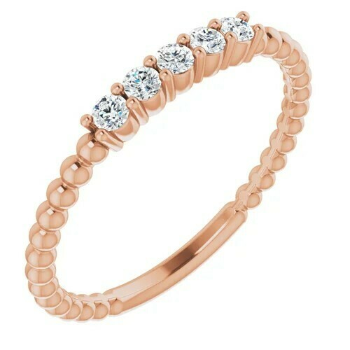 14K Rose 1/6 CTW Lab-Grown Diamond Stackable Ring