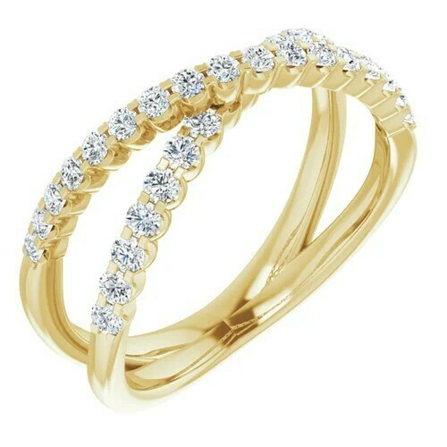 14K Yellow 1/2 CTW Lab-Grown Diamond Criss-Cross Ring
