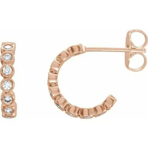 14K Rose 3/8 CTW Lab-Grown Diamond Hoop Earrings