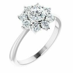 14K White 5.2 mm Round 1/2 CTW Lab-Grown Diamond Semi-Set Engagement Ring