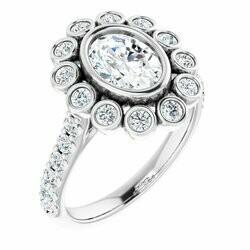 14K White 8x6 mm Oval 1 CTW Lab-Grown Diamond Semi-set Engagement Ring