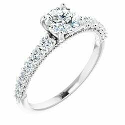 14K White 5.8 mm Round 1/3 CTW Lab-Grown Diamond Semi-set Engagement Ring