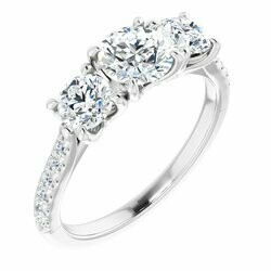 14K White 5.8 mm Round 3/4 CTW Lab-Grown Diamond Three-Stone Semi-set Engagement Ring