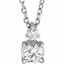 """14K White 1/2 CTW Lab-Grown Diamond Claw-Prong 16-18"""" Necklace"""