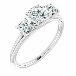 14K White 5.8 mm Round 3/8 CTW Lab-Grown Diamond Semi-set Engagement Ring